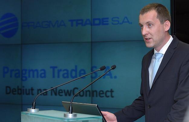 Michał Kolmasiak, prezes Pragma Trade, w czasie debiutu na NewConnect /PAP