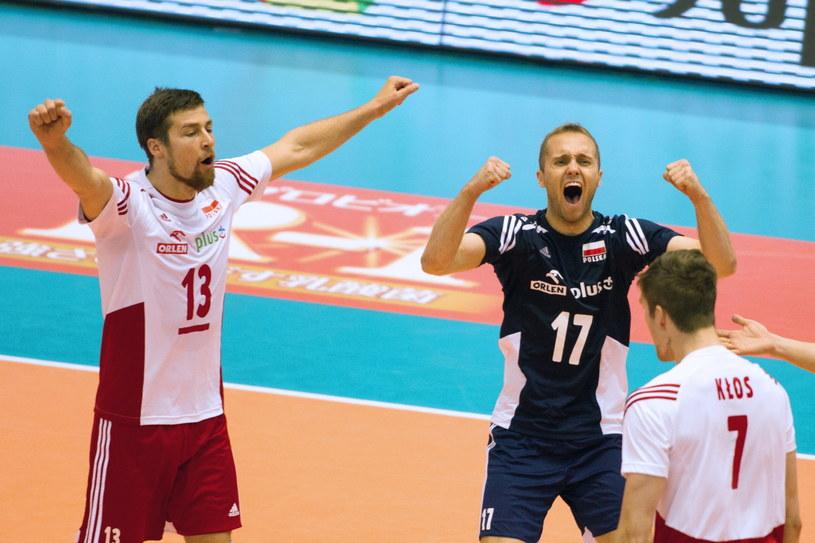 Michał Kubiak (L), Paweł Zatorski (C) i Karol Kłos (P) w meczu z Chińczykami /Jacek Kostrzewski /PAP