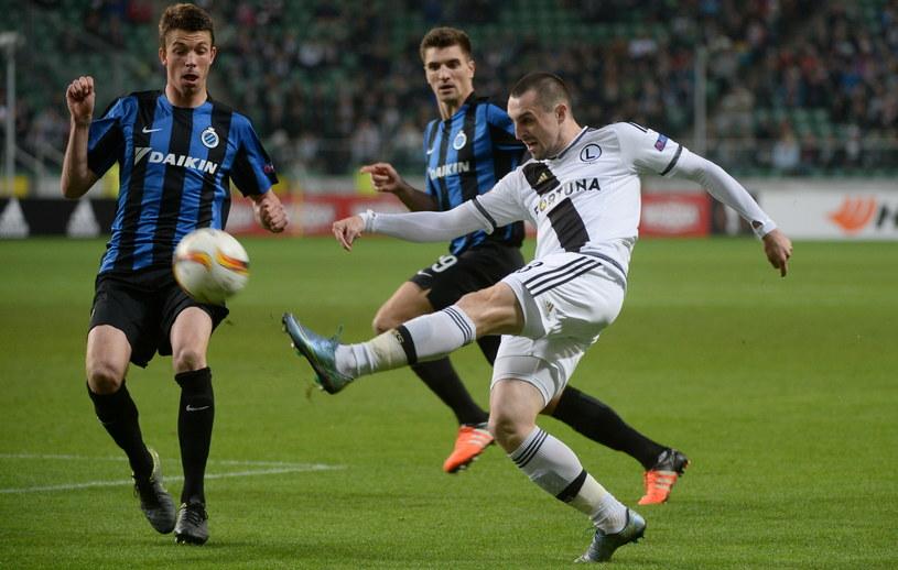 Michał Kucharczyk w meczu z FC Brugge /Fot. Bartłomiej Zborowski /PAP