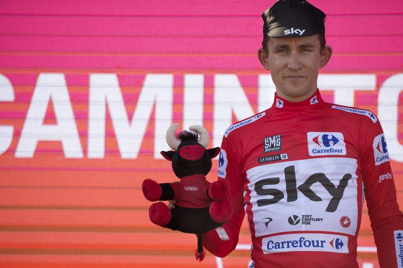 Michał Kwiatkowski w koszulce lidera wyścigu Vuelta a Espana /AFP