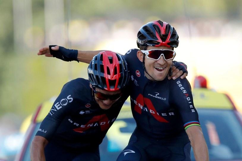Michał Kwiatkowski (z prawej) i Richard Carapaz podczas zeszłorocznego wyścigu, kiedy Polak wygrał etap /AFP