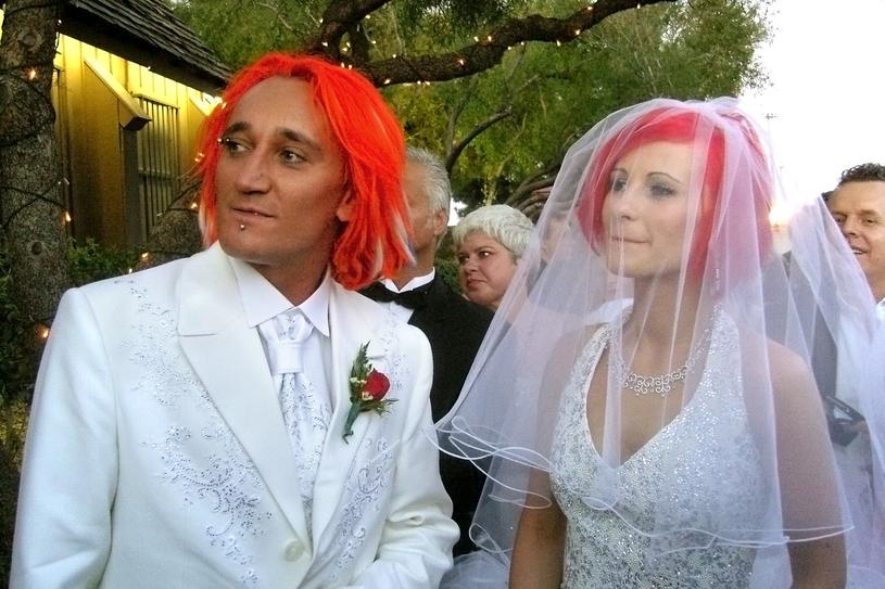 Michał Wiśniewski i Ania Świątczak podczas ślubu w 2007 r. /AKPA