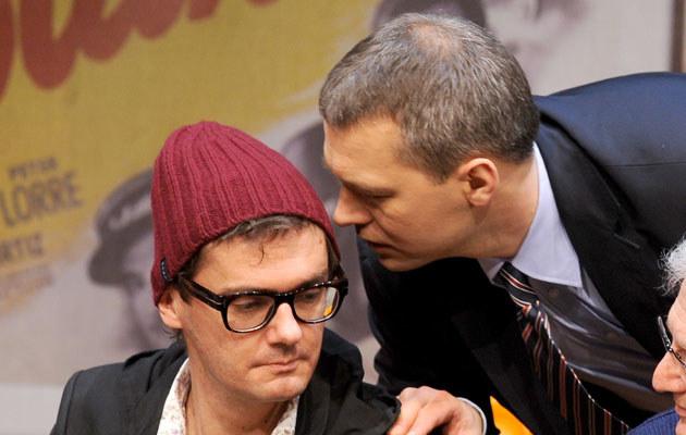 Michał Żebrowski i Kuba Wojewódzki na próbie w teatrze, fot. Andras Szilagyi  /MWMedia
