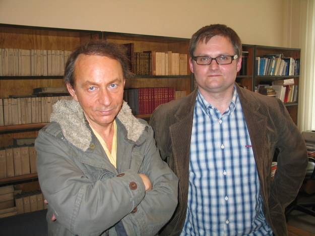 Michel Houellebecq podczas spotkania z dziennikarzem RMF FM Bogdanem Zalewskim  /Maciej Grzyb /RMF FM