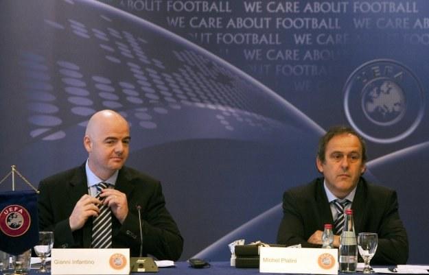Michel Platini (z prawej) i  Gianni Infantino. /AFP