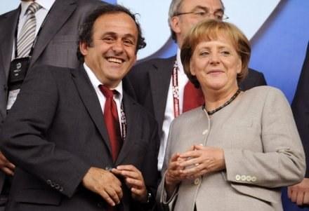 Michele Platini i Angela Merkel /AFP