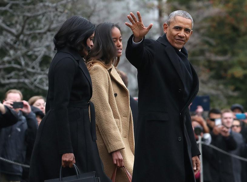 Michelle Obama z mężem i córką /Mark Wilson /Getty Images