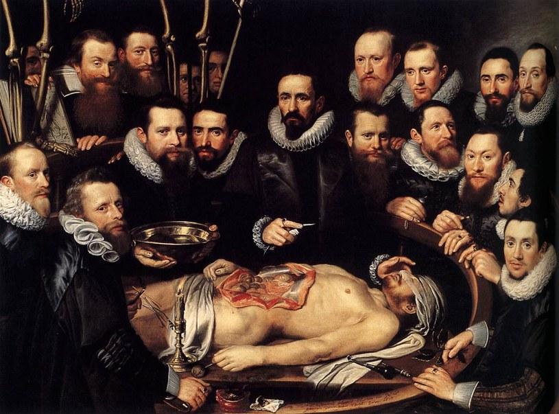 Michiel Jansz van Mierevelt, Lekcja anatomii doktora Willema van der Meera. Anatomowie usilnie poszukiwali informacji, jak powstaje człowiek, jednak bez mikroskopu mogli tylko teoretyzować (domena publiczna) /Ciekawostki Historyczne