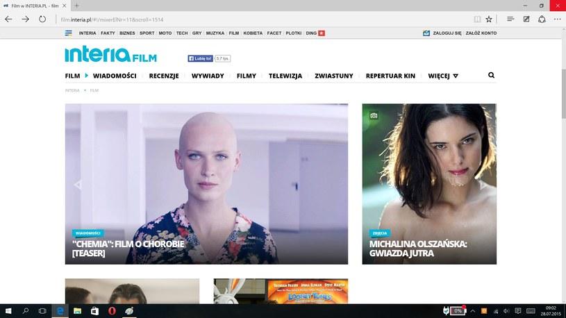 Microsoft Edge - nowa przeglądarka. Film.interia.pl - nowa wersja serwisu filmowego interi /INTERIA.PL