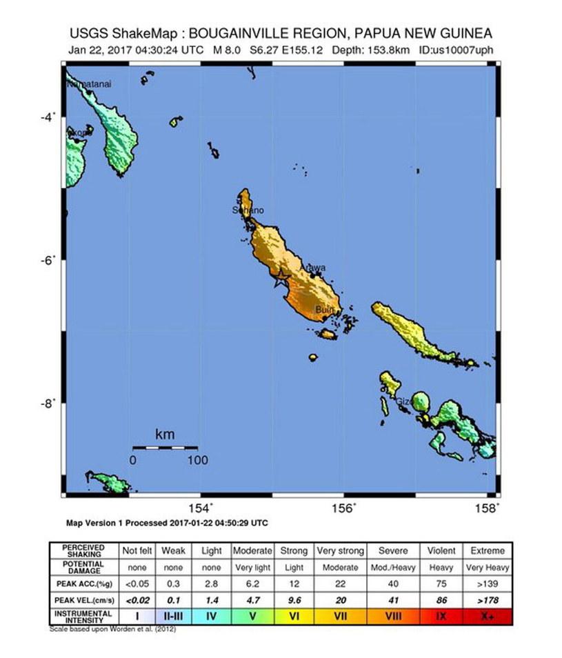 Miejsce, gdzie doszło do trzęsienia ziemi /USGS /PAP/EPA