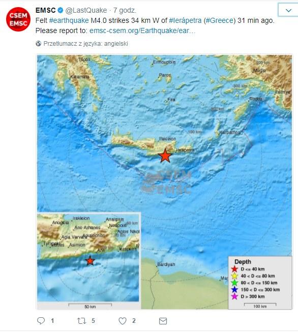 Miejsce, gdzie doszło do trzęsienia ziemi /Twitter