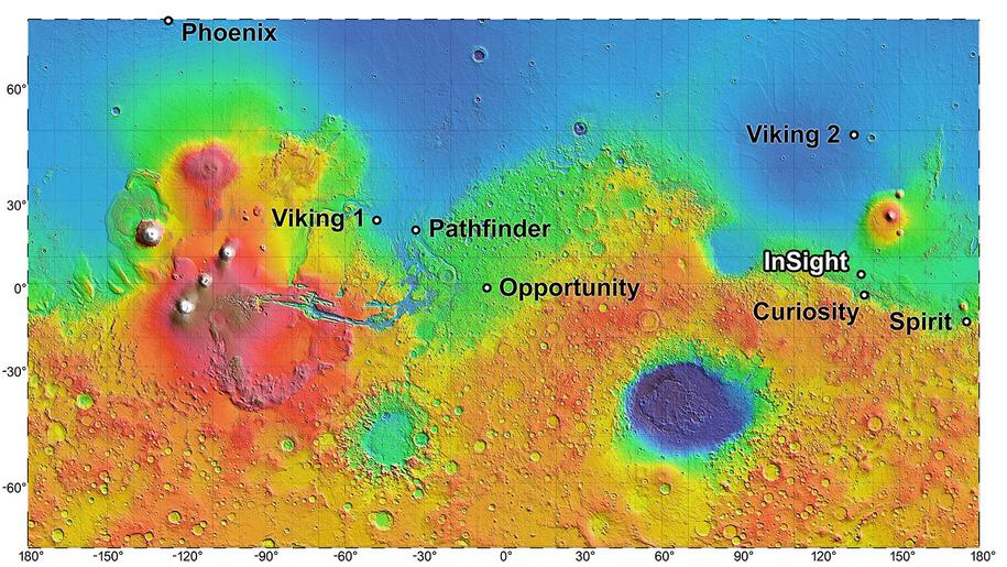 Miejsce lądowania InSight, w odniesieniu do lądowisk wcześniejszych sond marsjańskich /NASA/JPL-Caltech /Materiały prasowe