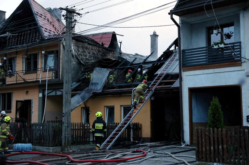 Miejsce pożaru we wsi Nowa Biała. /PAP/Grzegorz Momot /PAP