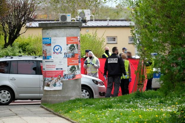 Miejsce śmiertelnego postrzelenia policjanta w Raciborzu /Andrzej Grygiel /PAP