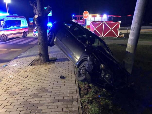 Miejsce śmiertelnego wypadku w miejscowości Kock /foto. KP PSP Lubartów /PAP