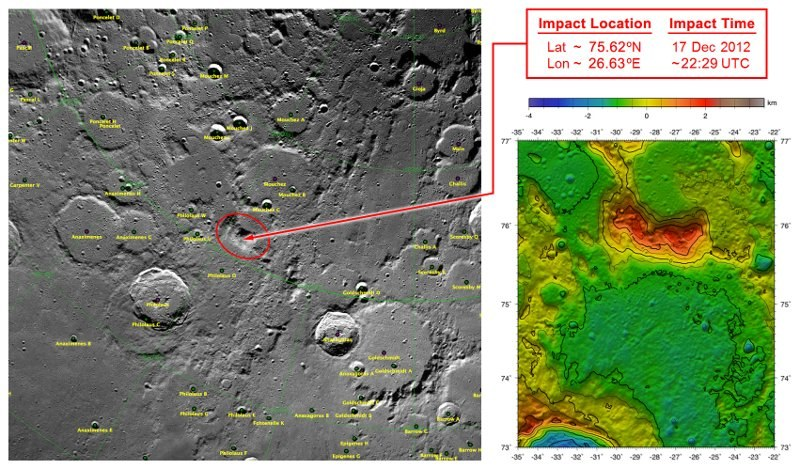 Miejsce, w które uderzyły obie sondy GRAIL /NASA