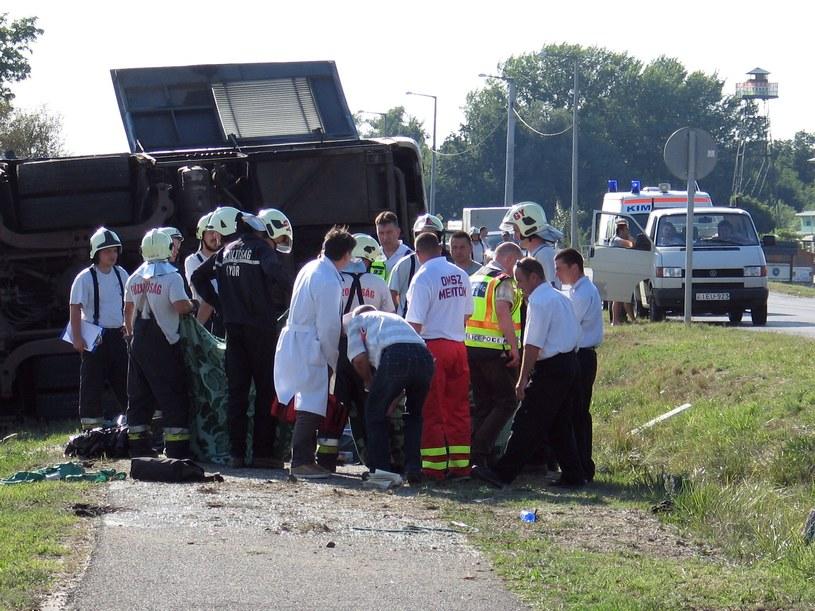 Miejsce wypadku autokaru /AFP