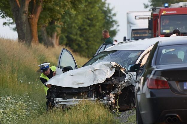 Miejsce wypadku na drodze krajowej nr 20 w miejscowości Borcz /Adam Warżawa /PAP