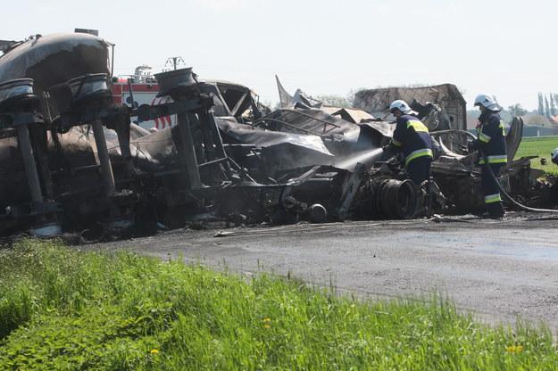 Miejsce wypadku na drodze krajowej nr 36 /Tomasz Wojtasik /PAP