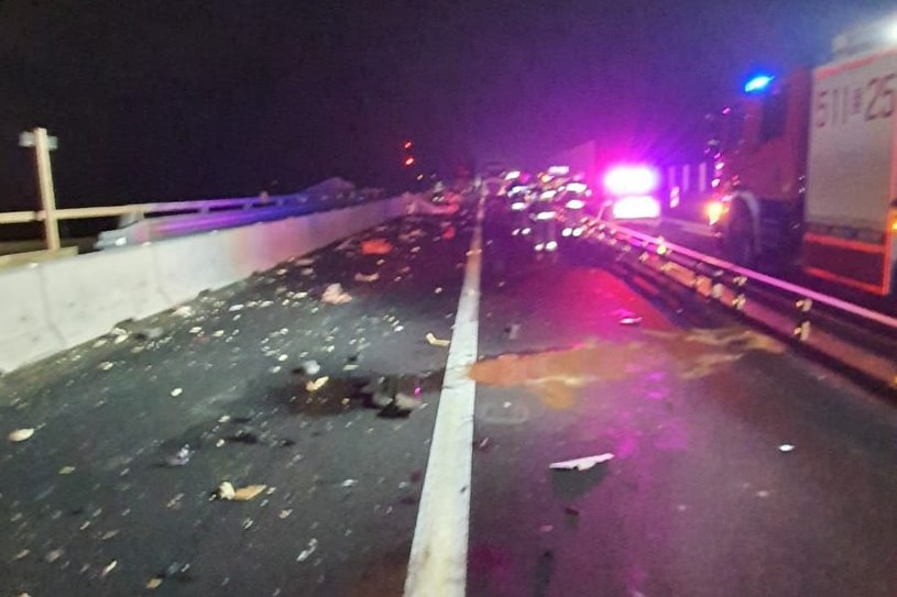 Miejsce wypadku na remontowanej autostradzie A1 /Policja