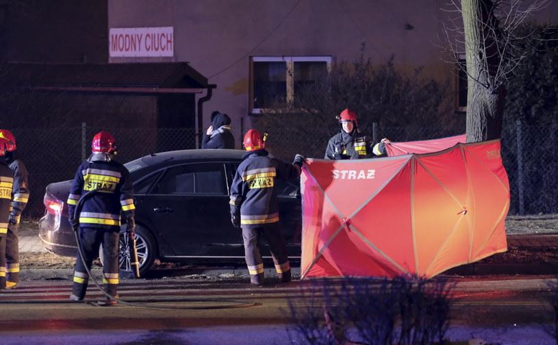 Miejsce wypadku samochodowej kolumny rządowej /Andrzej Grygiel /PAP