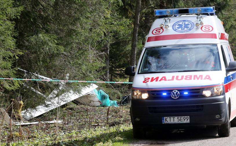 Miejsce wypadku szybowca w rejonie Łysej Polany po stronie słowackiej, obok przejścia granicznego z Polską /Grzegorz Momot /PAP