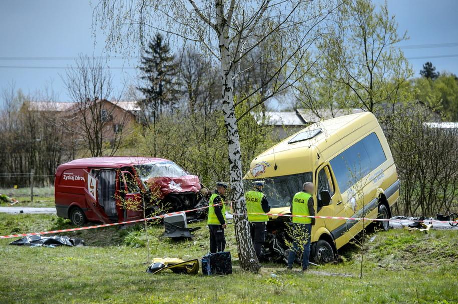 Miejsce wypadku w miejscowości Rzeczyca Kolonia /Wojciech Pacewicz /PAP