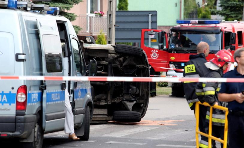 Miejsce wypadku w Niegowonicach /Andrzej Grygiel /PAP