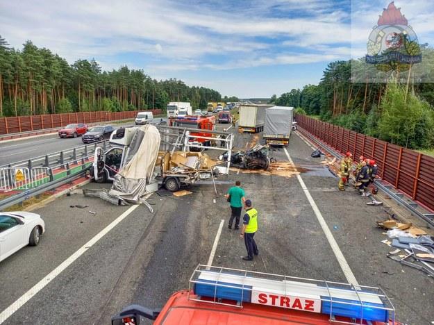 Miejsce wypadku w Wólce Łasieckiej /PSP
