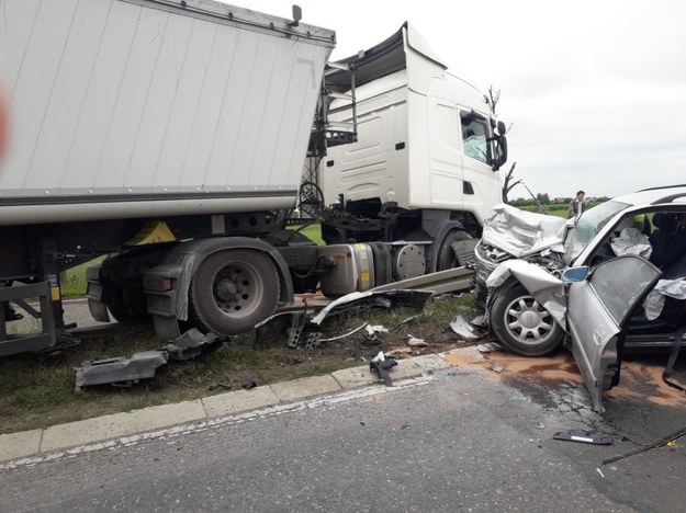 Miejsce wypadku /KPP Płońsk /Policja