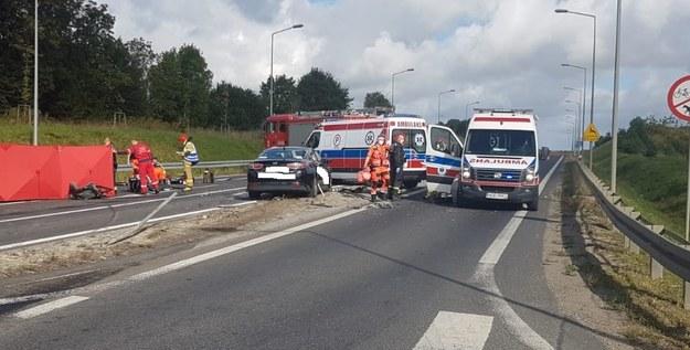 Miejsce wypadku /PSP Olecko /PSP