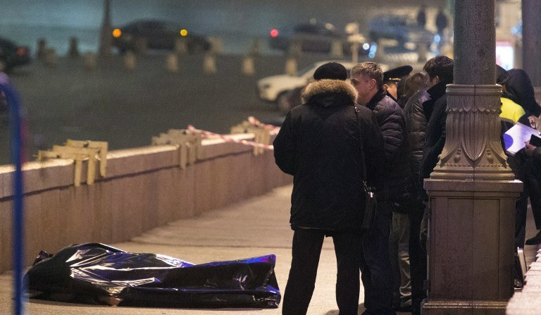 Miejsce zabójstwa Niemcowa /AFP