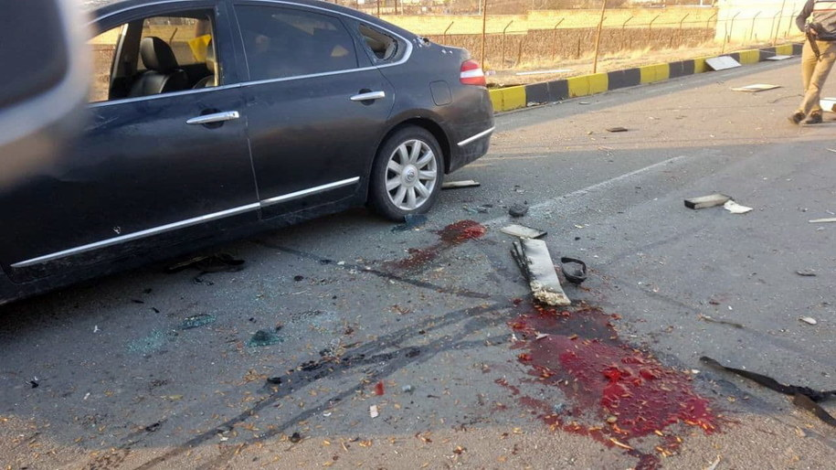 Miejsce zamachu na irańskiego eksperta ds. jądrowych Mohsena Fakhrizadeha na zdjęciu opublikowanym przez irańską telewizję państwową IRIB /IRIB /PAP/EPA
