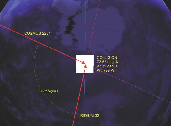 Miejsce zderzenia satelity Iridium 33 i Kosmos 2251 /domena publiczna