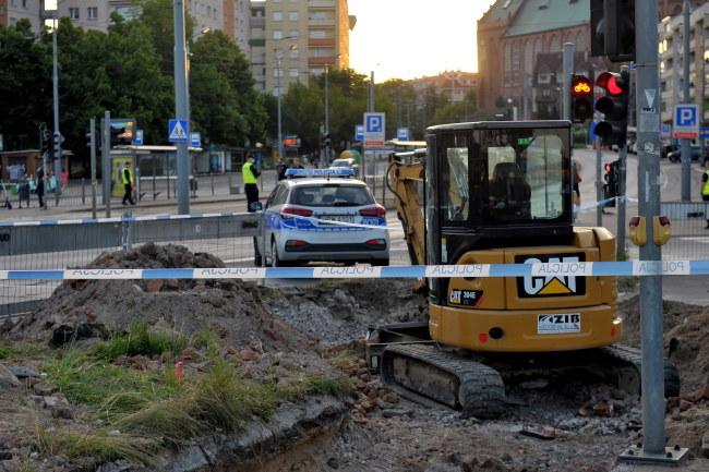 Miejsce znalezienia niewybuchu /Marcin Bielecki   /PAP