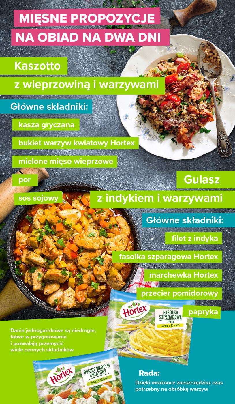 Mięsne propozycje na obiad na dwa dni - infografika /materiały promocyjne