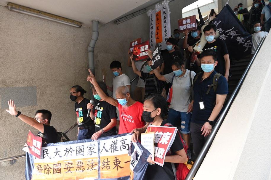 Mieszkańcy Hongkongu protestujący przeciwko nowym przepisom /MIGUEL CANDELA /PAP/EPA