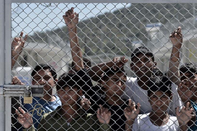 Migranci na greckiej wyspie Lesbos /AFP