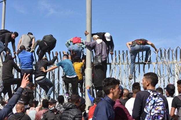 Migranci pokonujący ogrodzenie w mieście Al-Funajdik /Jalal Morchidi /PAP/EPA
