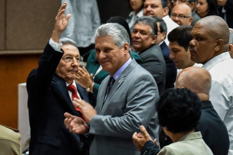 Miguel Diaz-Canel, z lewej Raul Castro /AFP