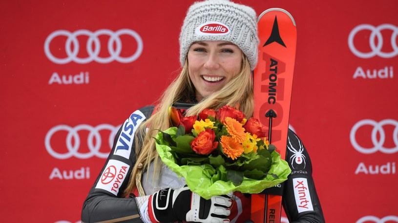 Mikaela Shiffrin po wygraniu slalomu PŚ w Ofterschwang. /Getty Images