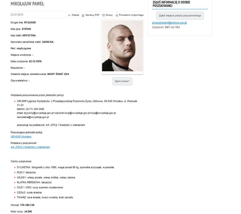 Mikołajuw na stronie poszukiwani.pl /