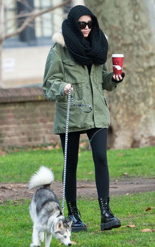 Miley jest wzorową panią - nigdy nie zapomina o spacerze z pupilem! /Splashnews