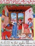 Miniatura z Kodeksu Behema z przedstawieniem warsztatu krawca, 1505 /Encyklopedia Internautica