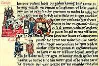 Miniatura z saskiej Kroniki świata, poł. XIII w., papież Leon I prowadzi rokowania pokojowe z wł /Encyklopedia Internautica