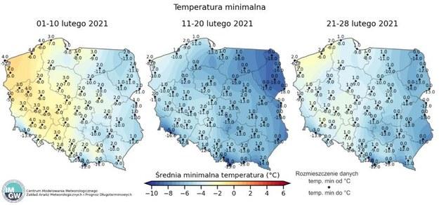 Minimalne temperatury w poszczególnych dniach lutego / IMGW.pl /
