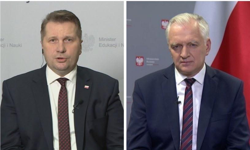 Minister edukacji Przemysław Czarnek i wicepremier Jarosław Gowin /Polsat News