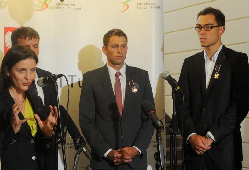 Minister Joanna Mucha w towarzystwie Łukasza Kubota i Jerzego Janowicza /Grzegorz Jakubowski /PAP
