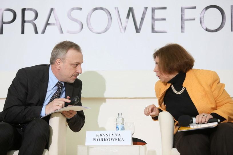 Minister kultury i dziedzictwa narodowego Bogdan Zdrojewski (L) i badaczka Krystyna Piórkowska (P) /Leszek Szymański /PAP