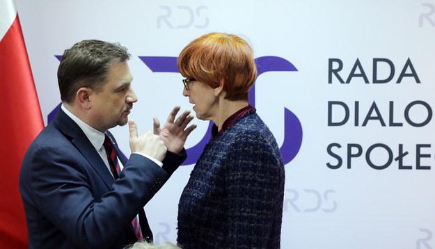 Minister rodziny, pracy i polityki społecznej Elżbieta Rafalska (P) i przewodniczący Solidarności Piotr Duda /PAP